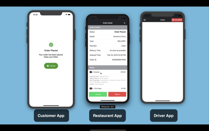 create online food ordering app for android, ios with driver and restaurant  apps