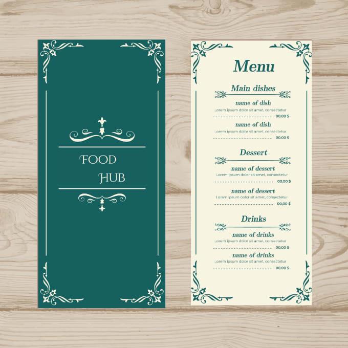 design unique food menu,restaurant menu