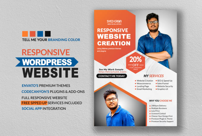 create wordpress website, blog, business website, landing page or squeeze  page