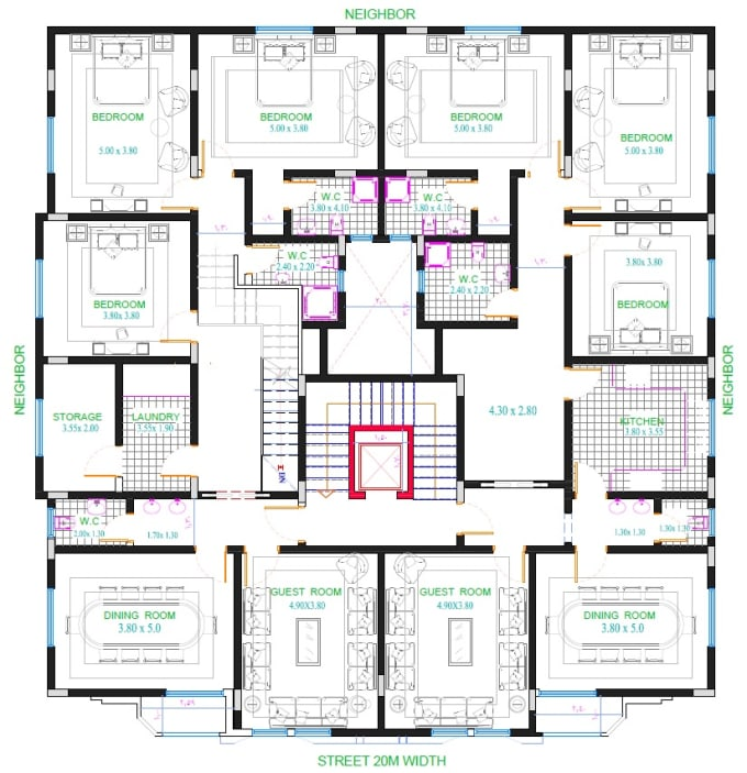Draw nice architectural floor plans for
