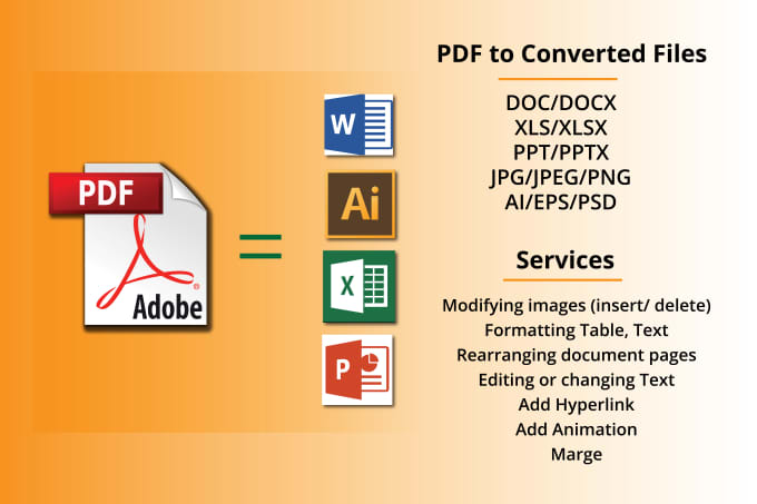 convert PDF to ai, word, powerpoint, excel, jpg, png