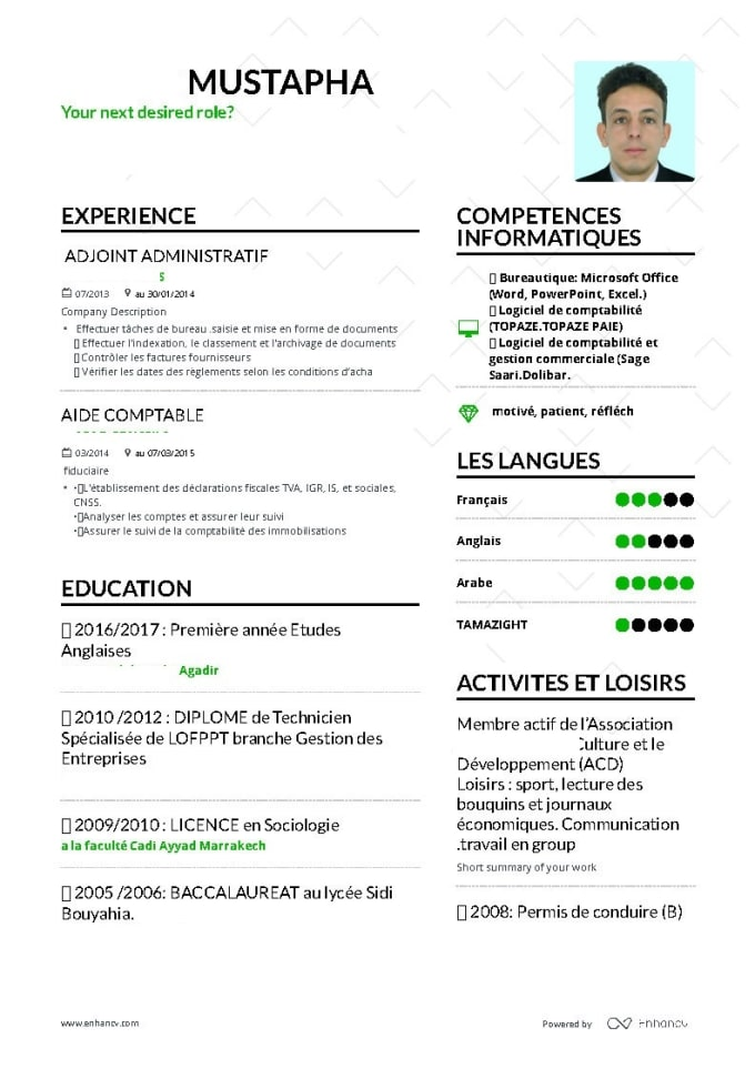 Nabilmarakch I Will Rewrite And Redesign Your Resume Cv And Cover Letter For 5 On Www Fiverr Com