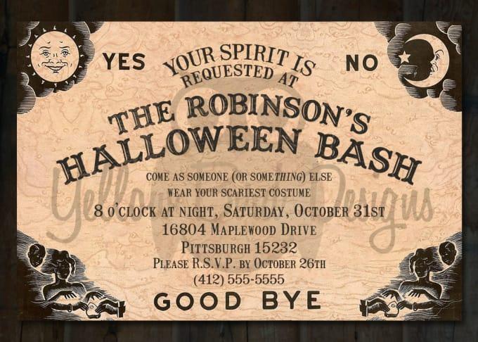 Ouija Invitation Hallowen Costum Udaf