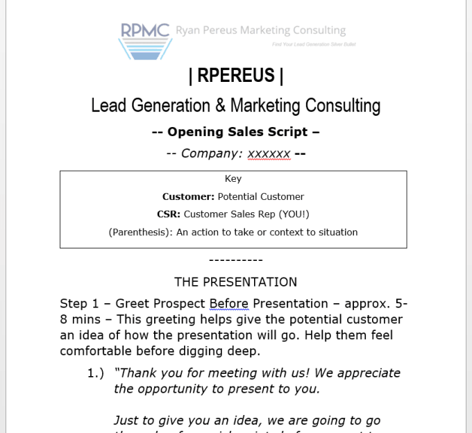 write a sales presentation script outline for webinar or in person