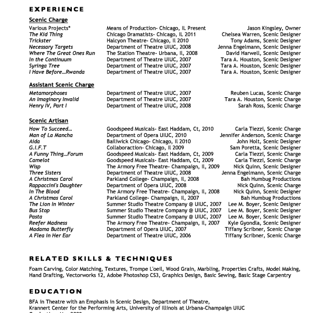 Review And Edit Your Technical Theatre Resume