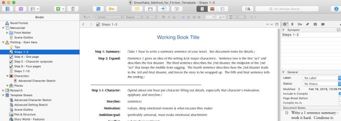 Provide a snowflake method scrivener template by eclectictllc maxwellsz