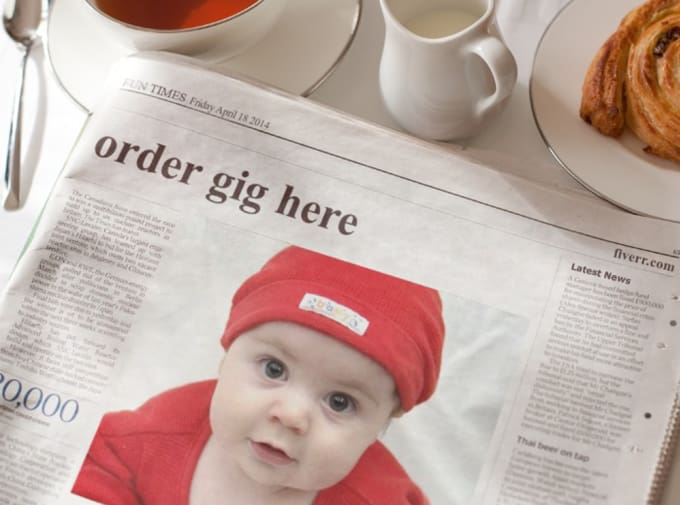 put a photo, logo or message on newspaper