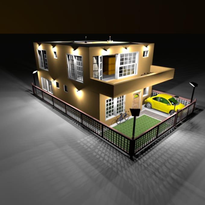 design a 3d model of your house plan by rachidshop. Black Bedroom Furniture Sets. Home Design Ideas