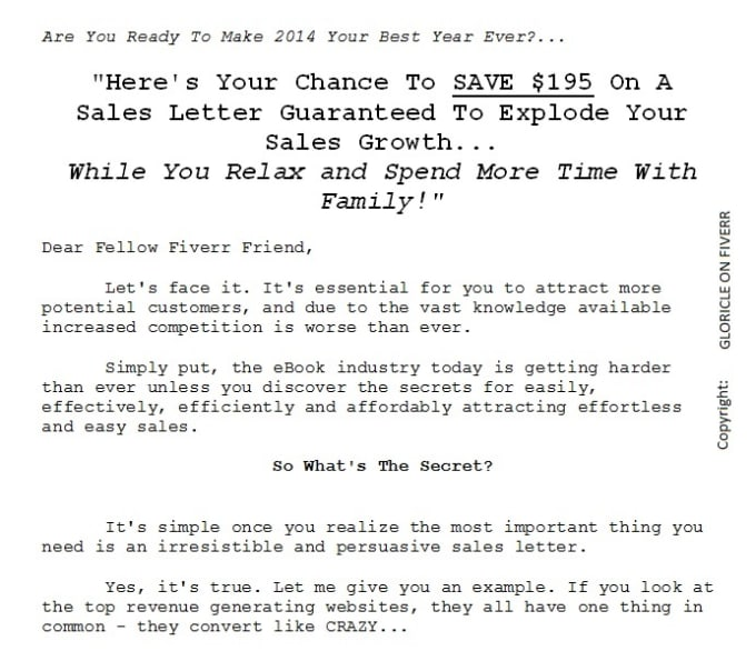 Write an irresistible and persuasive sales letter by Gloricle