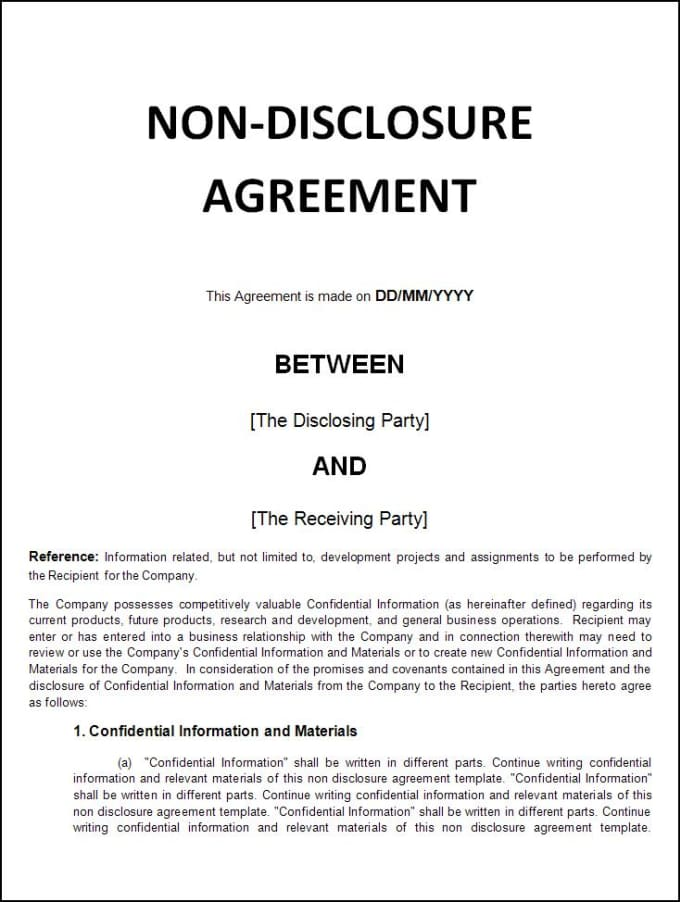 write customized professional non disclosure agreement or