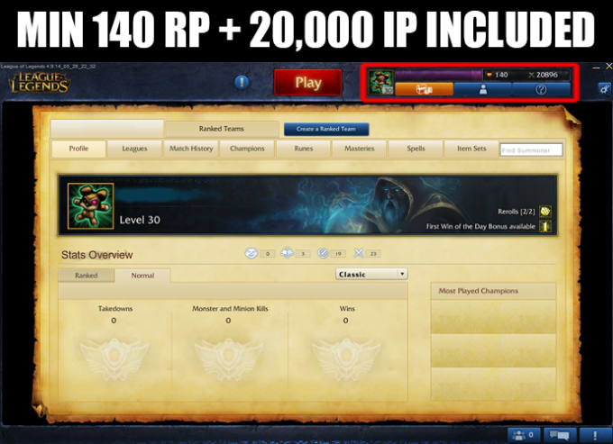 mexicantroll : I will sell euw unranked level 30 LoL accounts 20k 30k IP  for $5 on www fiverr com