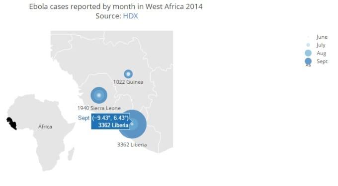 plot data on an interactive map using D3js, Plotly