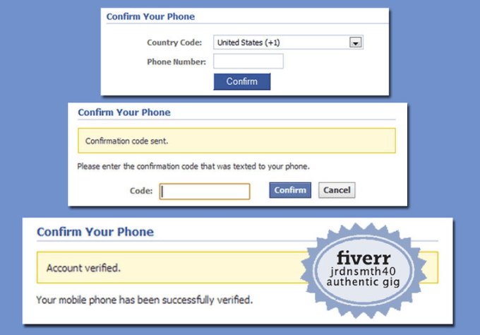 jrdnsmth40 : I will phone verify PVA your facebook account for $5 on  www fiverr com