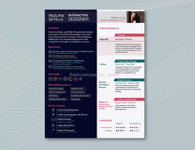 design cv  resume  curriculum vitae  cover letter by paulina sevilla