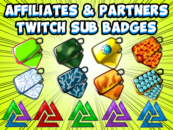 create twitch subscribers badges, partners and affiliates
