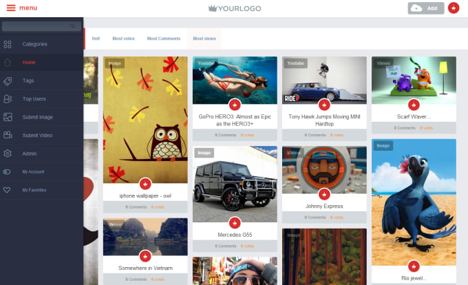 build video,images sharing website and apps