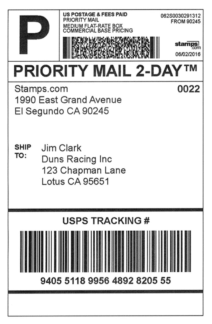 This is a picture of Vibrant Priority Mail Express Mailing Label