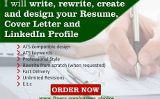 i will create write rewrite design resume cover letter linkedin resume writer cv