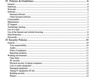 create an it policy document template for your project by