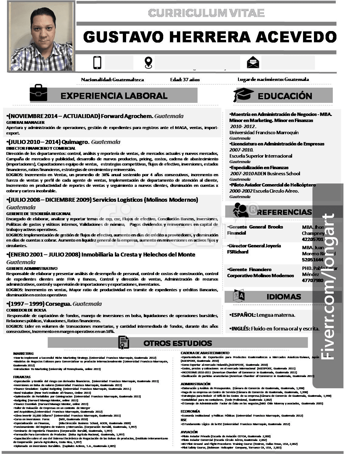 Design a professional resume by Longart