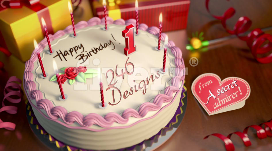 Make A 3d Happy Birthday Cake Video With Music Background By Lamine06