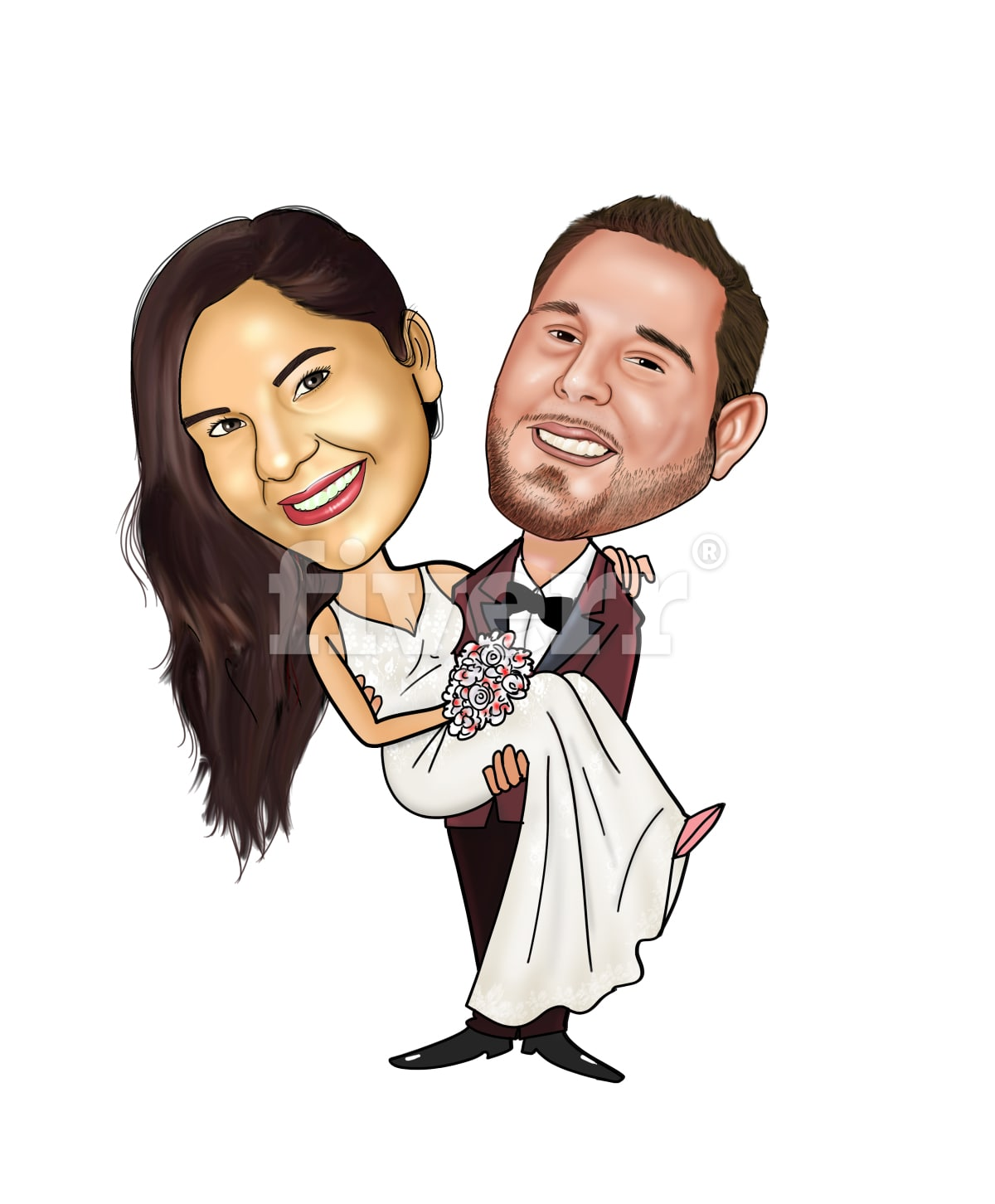 Draw caricature couple and wedding themed by Ryadavpali