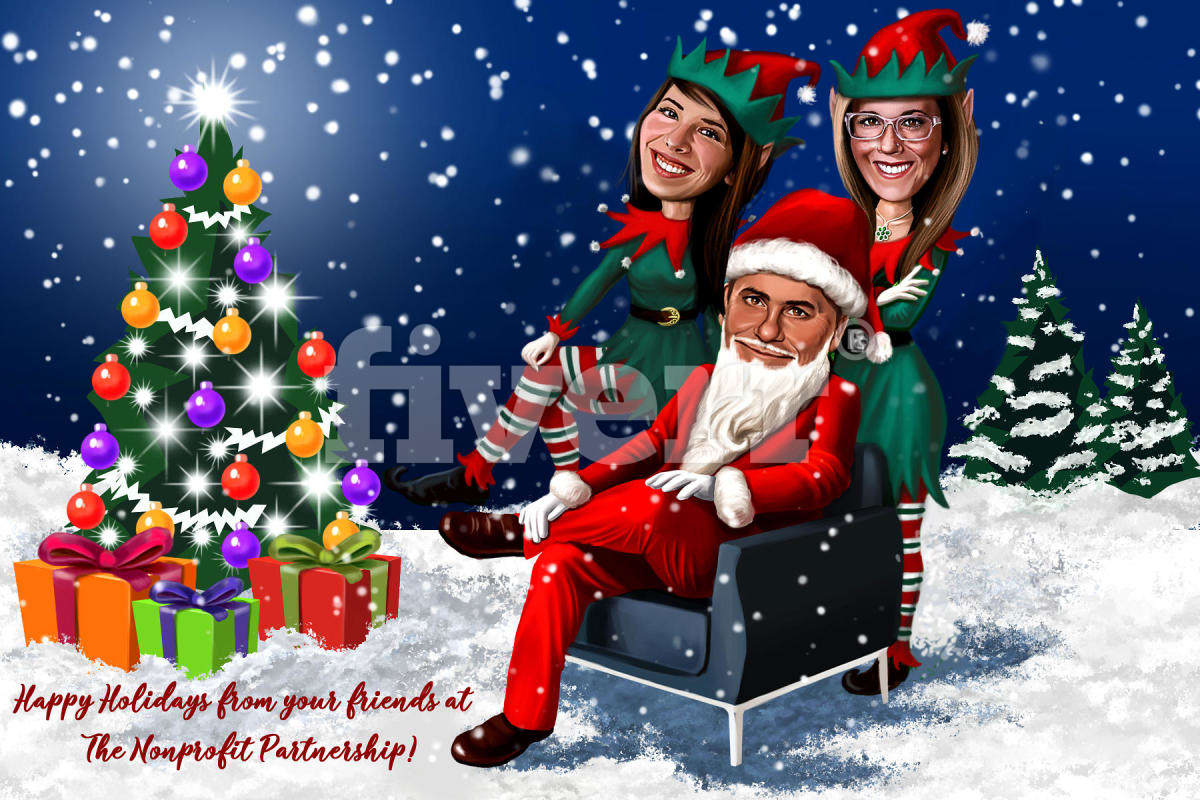 Draw custom holiday family caricature, digital drawing by ...