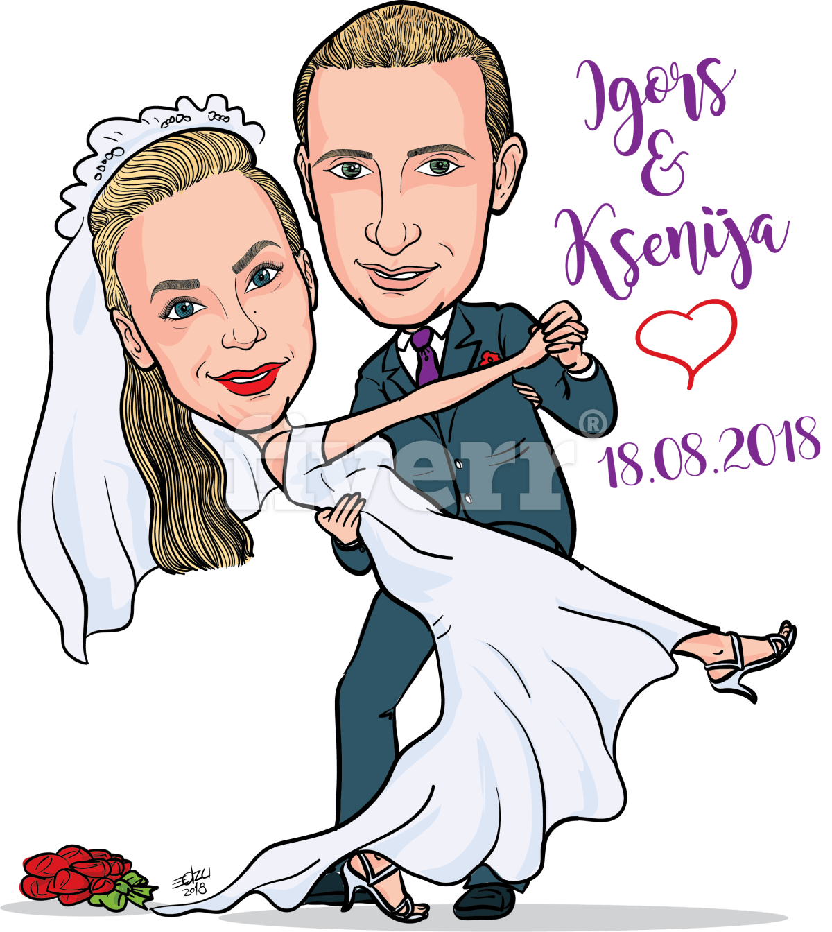 Caricature couple in wedding themed by Edzumoreira