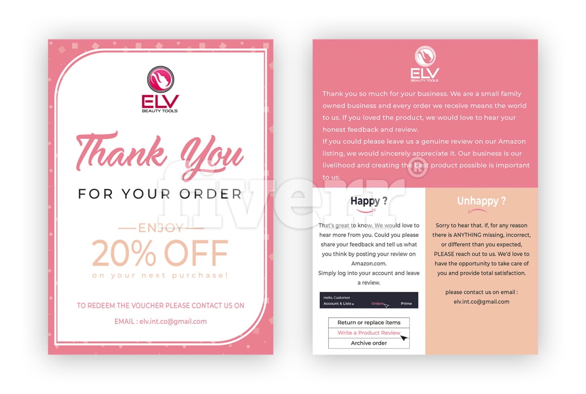 Amazon thank you card product insert insert card reheart Gallery