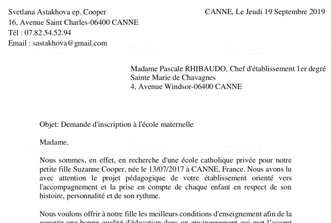 create a special cover letter and CV in french and english