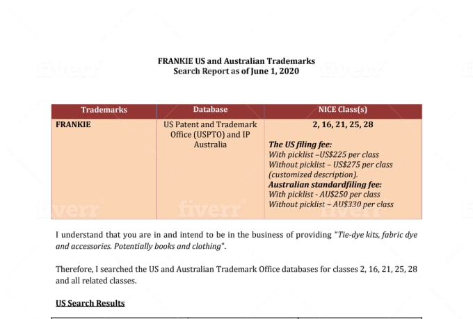do a comprehensive trademark search and provide a clearance report
