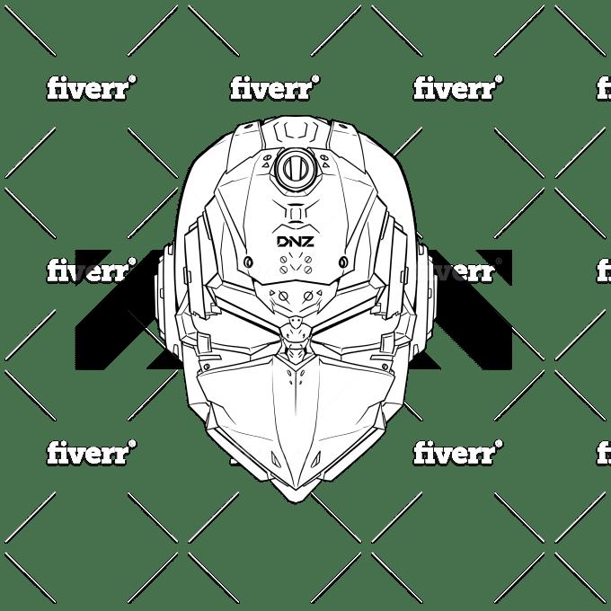 Draw Mecha Robot Cyber Mask For T Shirt Or Merchandise By Dansanugrah