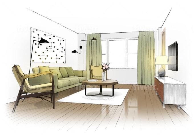 Make Kitchen Interior Illustration Sketch By Drawedraw