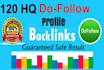 provide 120 HQ dofollow profile backlinks