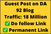 provide white hat link building guest post from high da 90