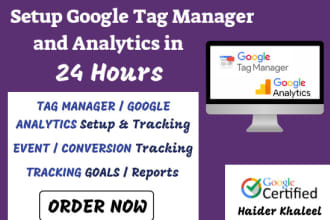 setup google analytics and tag manager in 24 hours