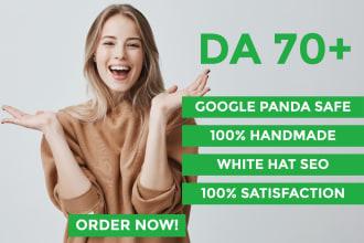 create authority da70 seo dofollow manual backlinks