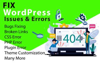 fix wordpress issues, error, bug or any problem