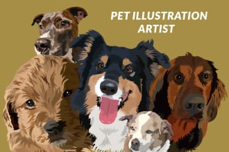 draw dog cat animal pet cartoon portrait illustration