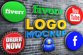 design wall 3d logo mockup or wall 3d text mockup for you