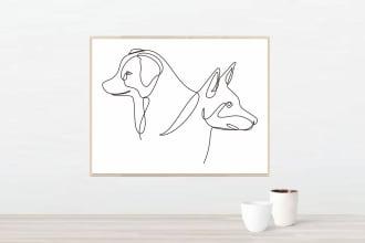draw your pets single line art