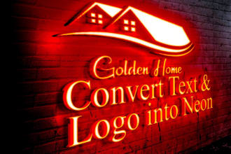 convert your text and logo into neon sign neon light