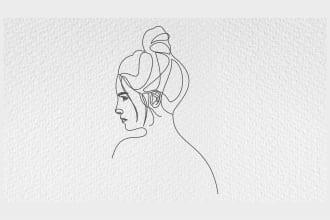 draw line art portrait illustration