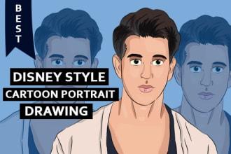 draw a disney style cartoon portrait