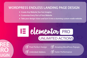 create a elementor pro animated landing page