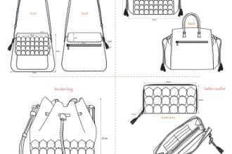 design all types of bags with detailed technical drawings
