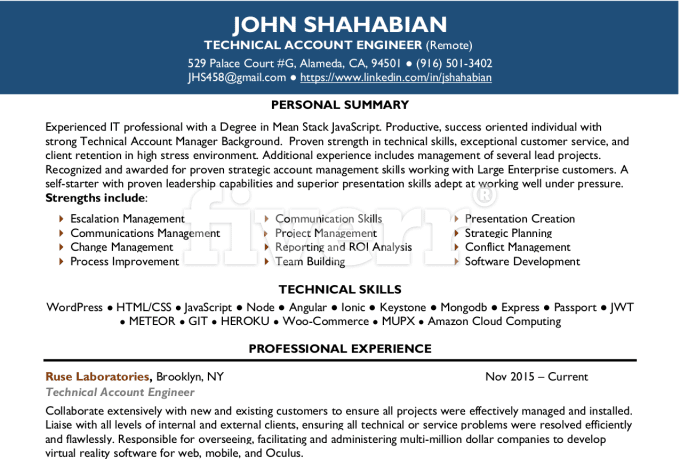 Resume writing services provided