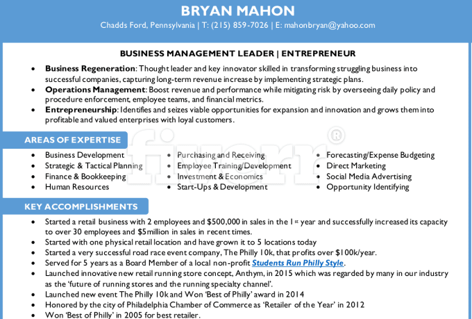 Sample Resume for a Former Entrepreneur   Distinctive Documents     Job Description Sample For Hr Executive The Results The Results