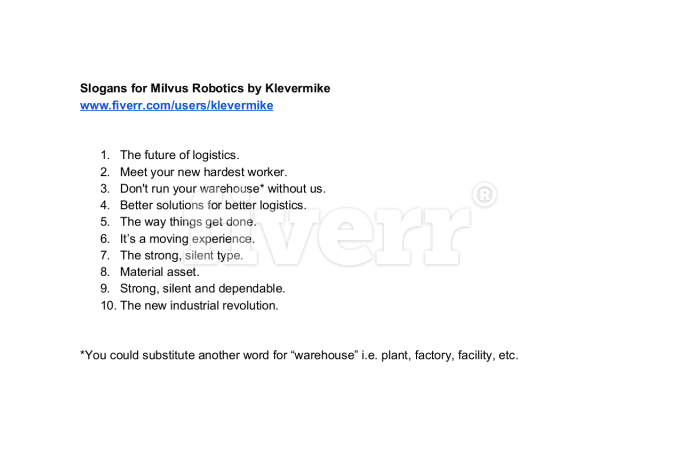 Write 5 catchy slogans or taglines by Klevermike