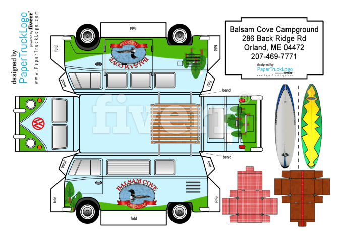 make a papercraft classic vw bus with your logo on it by papertrucklogo. Black Bedroom Furniture Sets. Home Design Ideas